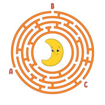 Laberinto circular. juego para niños. rompecabezas para niños. enigma de laberinto redondo.