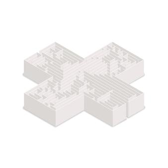Laberinto complicado en forma de cruz en vista isométrica aislado en blanco
