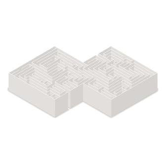 Laberinto complicado en vista isométrica aislado en blanco