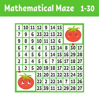 Laberinto cuadrado de color matemático. ayuda a un tomate a llegar a otro.