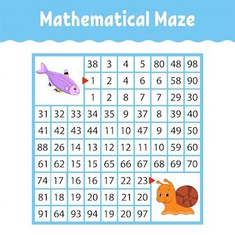 Laberinto cuadrado de color matemático. hoja de trabajo de desarrollo educativo.