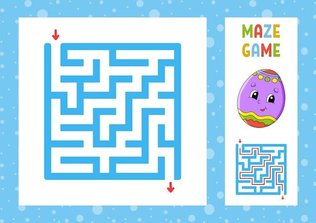Laberinto cuadrado. juego para niños. puzzle para niños. carácter feliz.