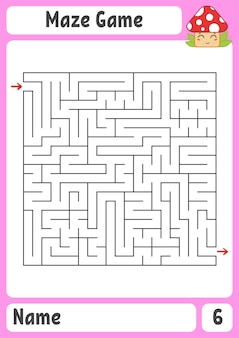 Laberinto cuadrado. juego para niños. puzzle para niños. enigma del laberinto.