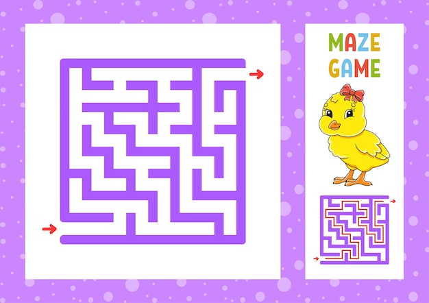 Laberinto cuadrado. juego para niños. puzzle para niños.