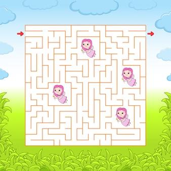 Laberinto cuadrado. juego para niños. rompecabezas para niños. laberinto enigma.