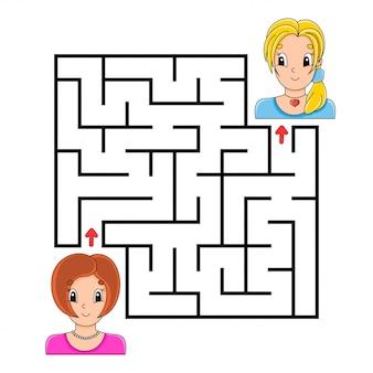 Laberinto cuadrado. juego para niños. rompecabezas para niños.