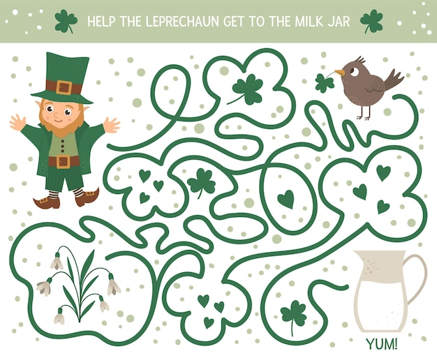 Laberinto del día de san patricio para niños. actividad preescolar de vacaciones irlandesas. juego de rompecabezas de primavera con lindo elfo, pájaro, flor. ayuda al duende a llegar al frasco de leche.