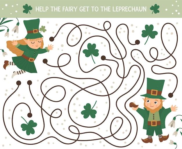 Laberinto del día de san patricio para niños. actividad preescolar de vacaciones irlandesas. juego de rompecabezas de primavera con lindos elfos y hadas. ayuda al hada a llegar hasta el duende.