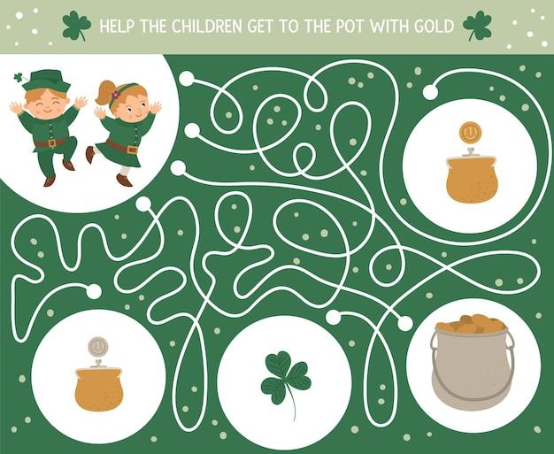 Laberinto del día de san patricio para niños. actividad preescolar de vacaciones irlandesas. juego de rompecabezas de primavera con niños lindos, trébol, monedas. ayude a los niños a llegar a la olla con oro.