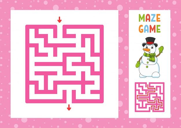 Laberinto divertido juego para niños. rompecabezas para niños. carácter feliz laberinto enigma. ilustración de vector de color