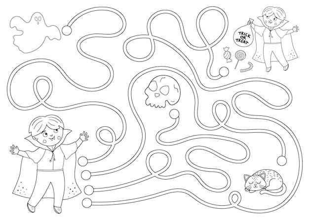 Laberinto de halloween en blanco y negro para niños. actividad educativa imprimible preescolar de otoño. divertido día de los muertos juego o página para colorear. ayuda al chico a llegar a los dulces.