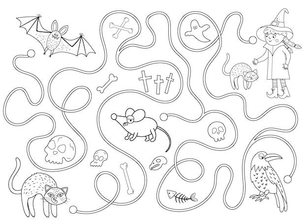 Laberinto de halloween en blanco y negro para niños. actividad educativa imprimible preescolar de otoño. divertido juego de día de los muertos o rompecabezas con gatito negro, murciélago, ratón. ayuda al gato a llegar hasta la bruja.