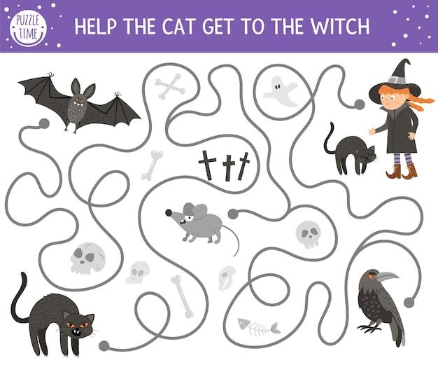 Laberinto de halloween para niños. actividad educativa imprimible preescolar de otoño. divertido juego de día de los muertos o rompecabezas con gatito negro, murciélago, ratón. ayuda al gato a llegar hasta la bruja.