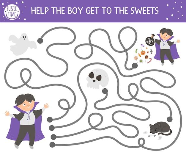 Laberinto de halloween para niños. actividad educativa imprimible preescolar de otoño. divertido juego de día de los muertos o rompecabezas con un niño disfrazado de vampiro, fantasma, cráneo. ayuda al chico a llegar a los dulces.