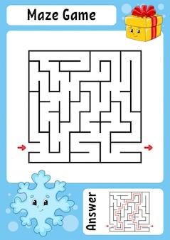 Laberinto. juego para niños. laberinto gracioso. hoja de trabajo de desarrollo educativo. página de actividades. rompecabezas para niños.