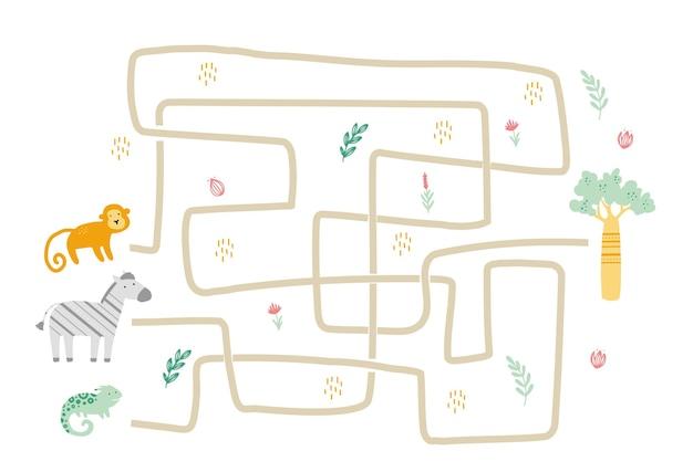 Laberinto con lindo animal africano para niños. juego de laberinto para niños. ilustración de actividades mentales.