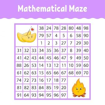Laberinto matemático cuadrado. juego para niños. número de laberinto.