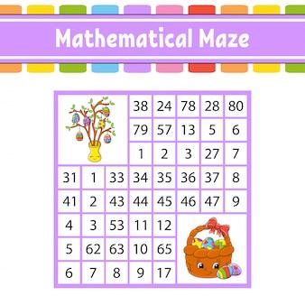 Laberinto matemático. juego para niños. número de laberinto. hoja de trabajo de desarrollo educativo.