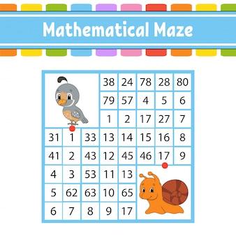 Laberinto matemático. juego para niños.