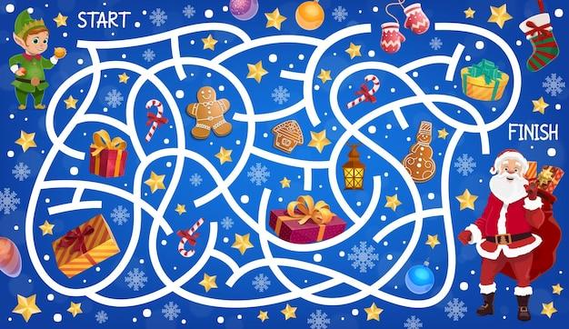 Laberinto navideño, juego educativo de laberinto para niños.