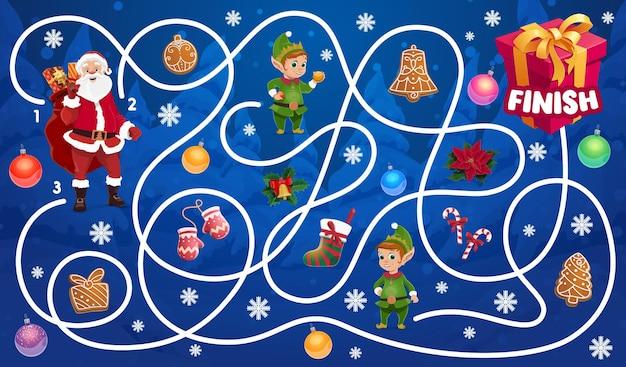Laberinto navideño para niños con personajes de papá noel y elfos. juego de laberinto para niños, actividad de juego de vacaciones de invierno de camino de búsqueda de niños. dulces, galletas de jengibre y medias, vector de dibujos animados de caja de regalo