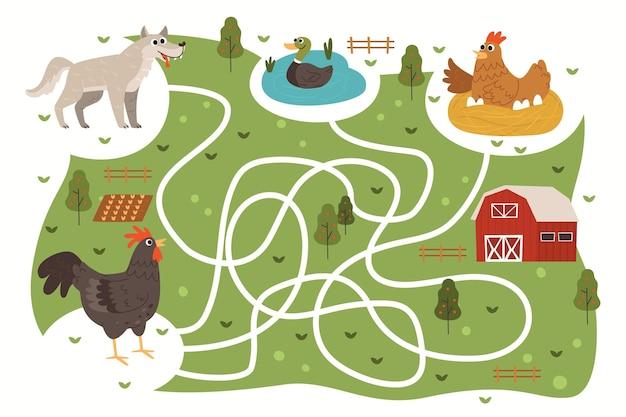 Laberinto para niños con animales de granja.
