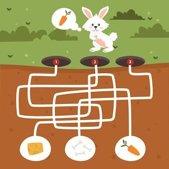 Laberinto para niños con conejo y comida.