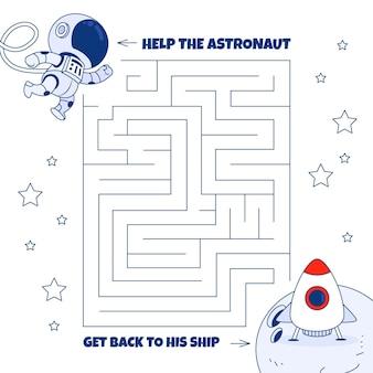 Laberinto para niños con elementos espaciales.