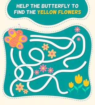 Laberinto para niños con mariposas y flores.