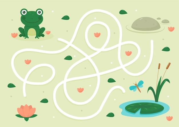 Laberinto para niños con rana