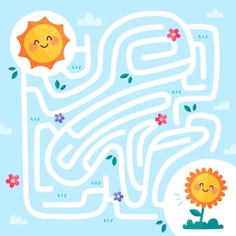Laberinto para niños con sol y planta.