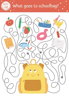 Laberinto de regreso a la escuela para niños. actividad educativa imprimible preescolar. divertido rompecabezas con lindo bolso de escuela y cosas. ¿qué va a la mochila? juego de otoño para niños con alumno.