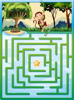 Laberinto rompecabezas con mono en la selva