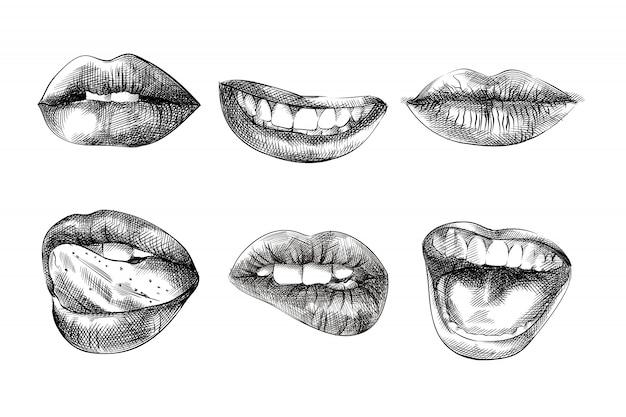 Labios boceto dibujados a mano, ilustración