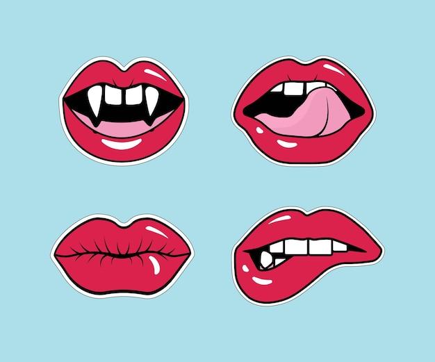 Labios femeninos cómicos. boca con un beso, sonrisa, lengua, dientes de vampiro, labios abiertos y cerrados