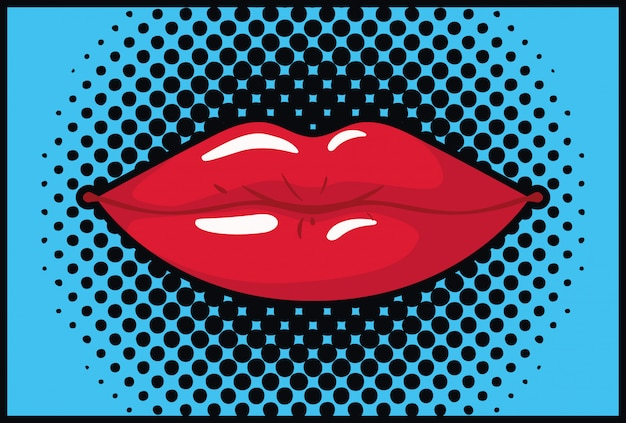 Labios femeninos de estilo pop art.
