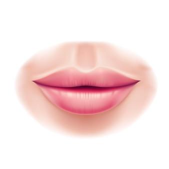 Labios de mujer de belleza realista después de la cirugía de labios