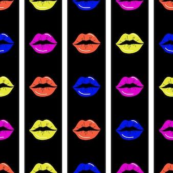 Labios de patrones sin fisuras. labios rojos sobre un fondo rayado blanco y negro. diseño para impresión, textiles, envoltorios, ilustración de vector de día de san valentín.