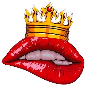Labios realistas con corona aislado en blanco
