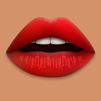 Labios rojos realistas 3d aislados.