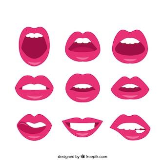 Labios sensuales con pintalabios