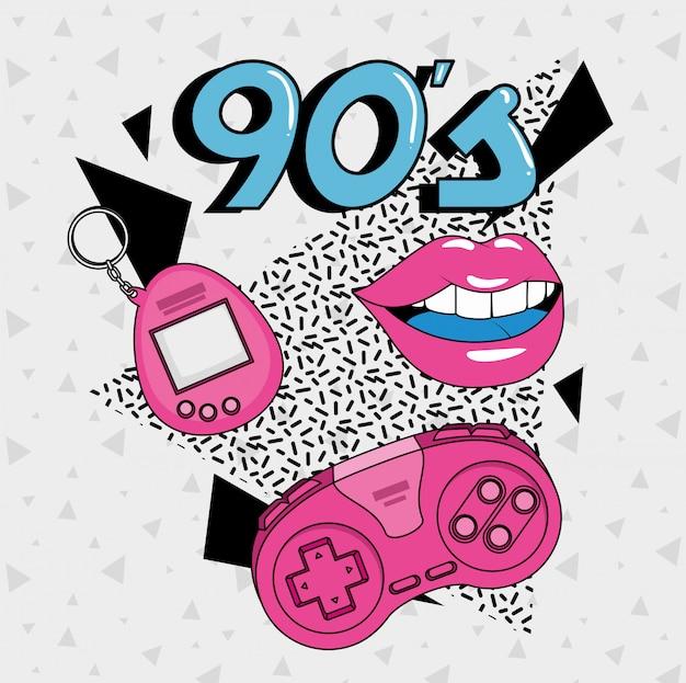Labios sexys y elementos del estilo artístico de los noventa