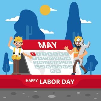 Labor celebrando el primero de mayo en el calendario