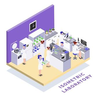 Laboratorio de bioingeniería manipulación genética del adn investigación científica transgénicos plantas animales creación de alimentos composición isométrica ilustración