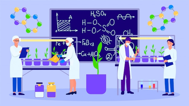 Laboratorio de ciencia y personas que crecen las plantas, ilustración.