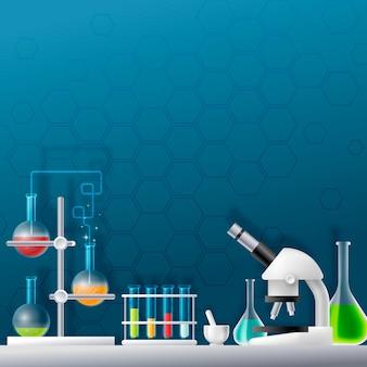 Laboratorio de ciencia realista y creativo ilustrado
