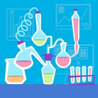 Laboratorio de ciencias dibujado a mano