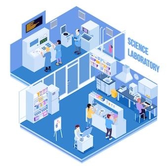 Laboratorio de ciencias con equipo profesional y personas que realizan investigaciones y experimentos físicos y químicos.