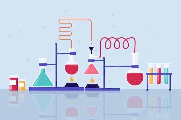 Laboratorio de ciencias con tubos de ensayo.