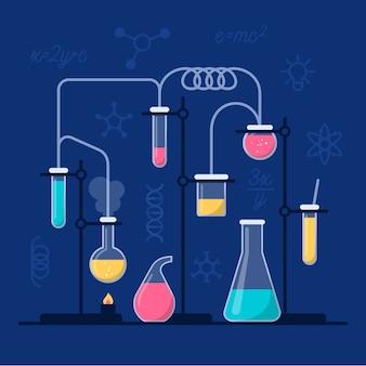 Laboratorio de ciencias con tubos